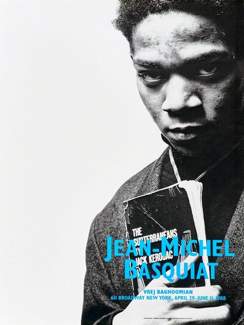 Jean-Michel Basquiat, 'Basquiat Vrej Baghoomian exhibition poster (Basquiat portrait with Jack Kerouac)', 1988, Lot 180