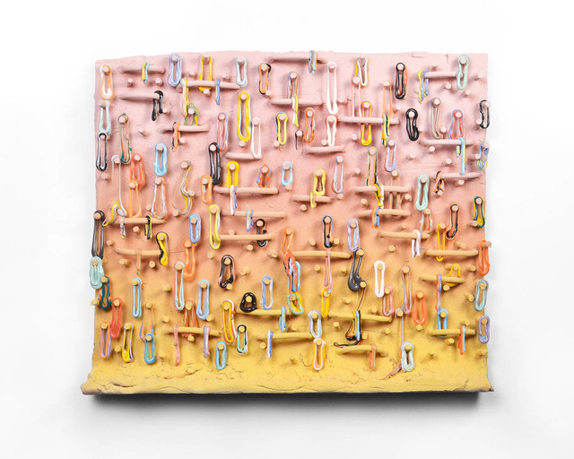 Lauren Mabry, 'Loopy Peg Painting (Pink and Yellow)', 2019, Ferrin Contemporary