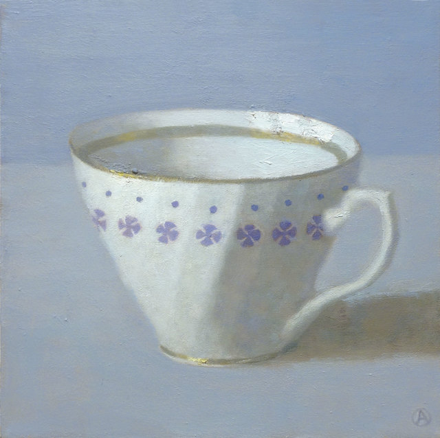 , 'White Cup on Periwinkle,' 2014, Gallery Henoch