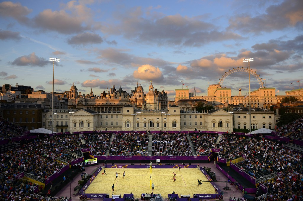Men's Beach Volleyball match between Brazil and Canada, London Olympics, The Horse Guards Parade ground, London