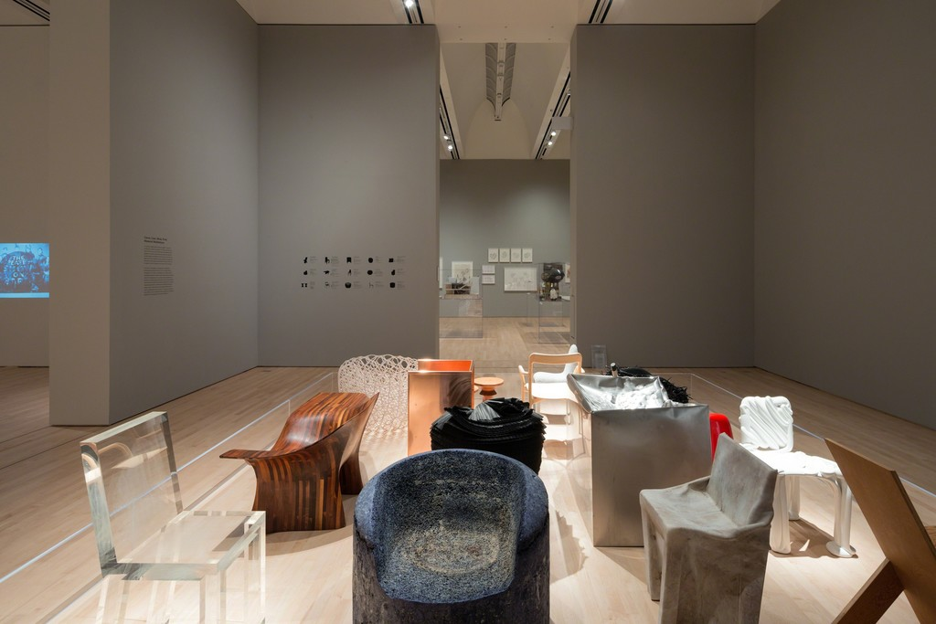 The Campaign for Art: Modern and Contemporary exhibition featuring a selection of chairs each of a single material; photo: © Iwan Baan, courtesy SFMOMA.