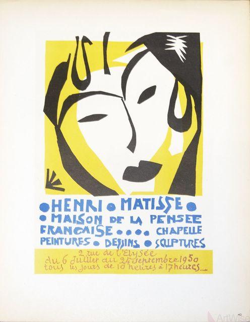 Henri Matisse, 'Maison de la Pensee Francaise', 1959, Print, Stone lithograph, ArtWise