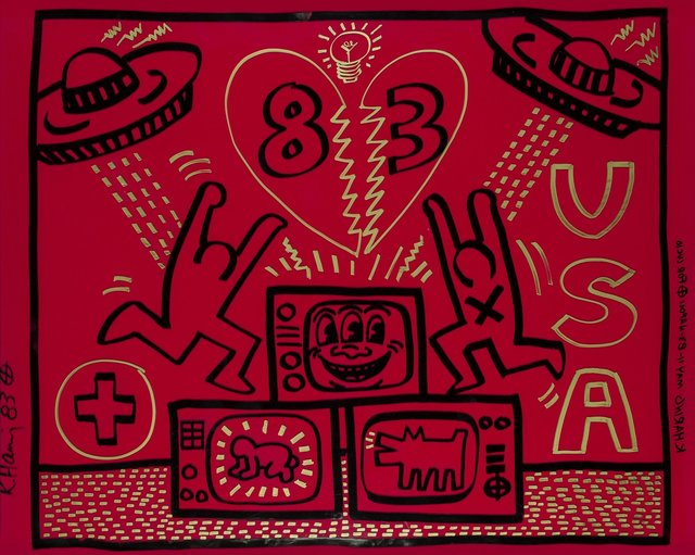 Keith Haring, 'Untitled', 1983, Painting, Acrylic and gold paint marker on red Plexiglass, Heritage Auctions