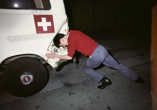 , 'Robert Lee crashing into white van,' 1977, Casemore Kirkeby