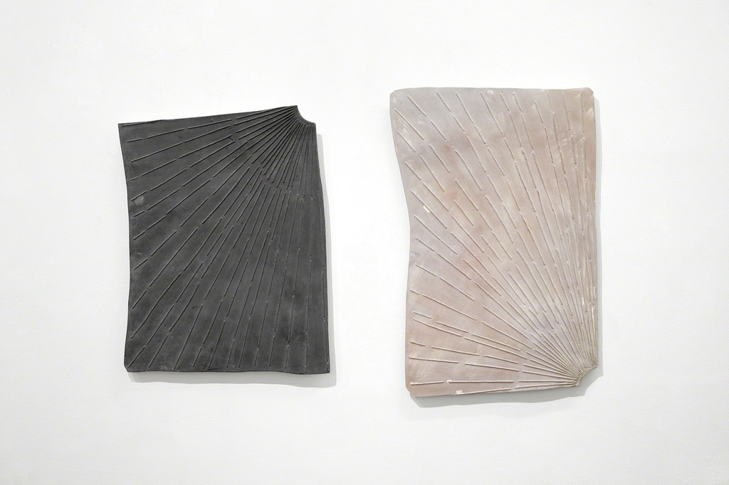 Anna Hughes | Moondial (third quarter), 2017, jesmonite and pigments, 55 x 43 cm. [left]; Sundial (first blush), 2017, jesmonite and pigments, 64 x 42 cm. [right].