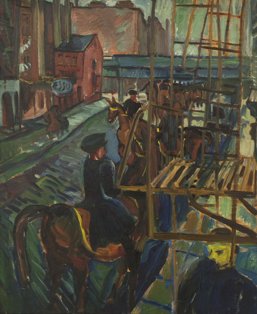 , 'Mounted Police on a City Street, New York,' , Canadian Fine Arts