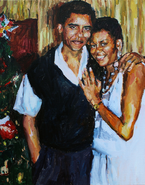 , 'I made this painting and then got a heart shaped Obama Keyring,' 2019, 99 Loop Gallery