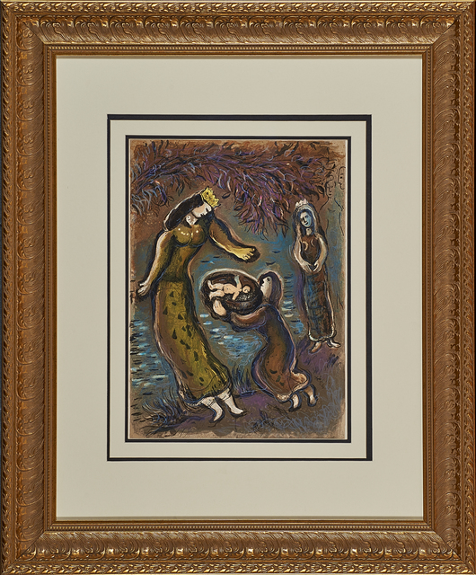 Marc Chagall, 'Pharaoh's Daughter and Moses from The Story of Exodus', 1966, Print, Lithograph in colors, Rago/Wright
