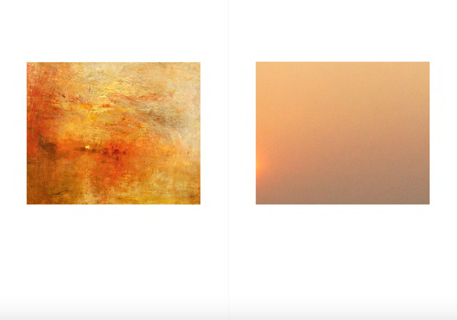 , 'From the Series, Seven Sunsets, (Left: Joseph Mallord William Turner, Sun Setting over a Lake, c.1840, (detail), oil on canvas Right: Detail from a screenshot of an image found on Google Images with the keywords 'AQI + air pollution in China 2015'. ),' 2016, East Wing