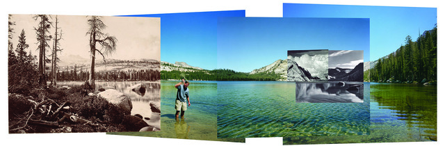 , 'Four Views from four times and one shoreline, Lake Tenaya, 2002. Left to Right: Eadweard Muybridge, 1872, Ansel Adams, 1942, Edward Weston, 1937. Back panels: Swatting high-country mosquitoes, 2002,' 2002, Harn Museum of Art