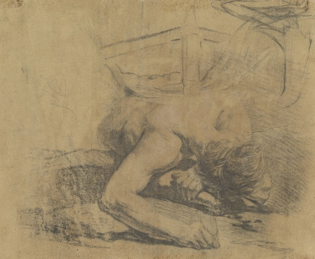 Jean-Baptiste Deshays, 'Man Reclining on the Ground and the Corner of a Bed [verso]', 1758/1765, Drawing, Collage or other Work on Paper, Counterproof in black and white chalks on brown laid paper, National Gallery of Art, Washington, D.C.