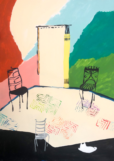 Polly Shindler, 'Three Chairs with White Cat ', 2020, Painting, Acrylic on paper, Freight + Volume