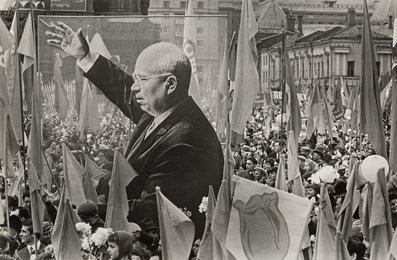 Red Square Parade with Banner of Kruschev