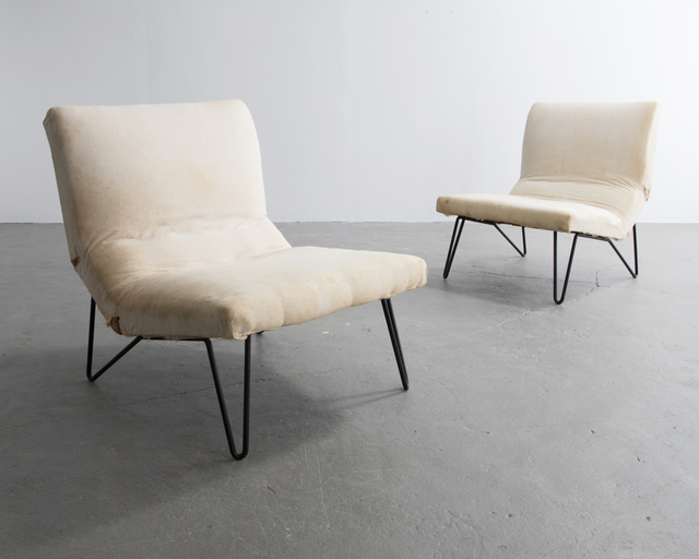 , 'Pair of Iron and Upholstered Lounge Chairs,' 1950s, R & Company