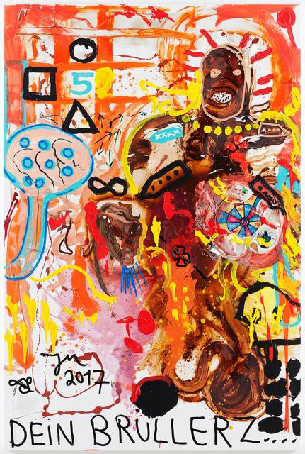 ", '""BRÜLL: PFERNANNDON, THE BRUNFT DE MIEZ NIT ONSEN, IM PONSEN! (HILFÉ: Á LÁ FRANCAISÉ)"",' 2017, Galerie Krinzinger"