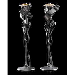 Pair of Calyx candleholders, Rochester, NY