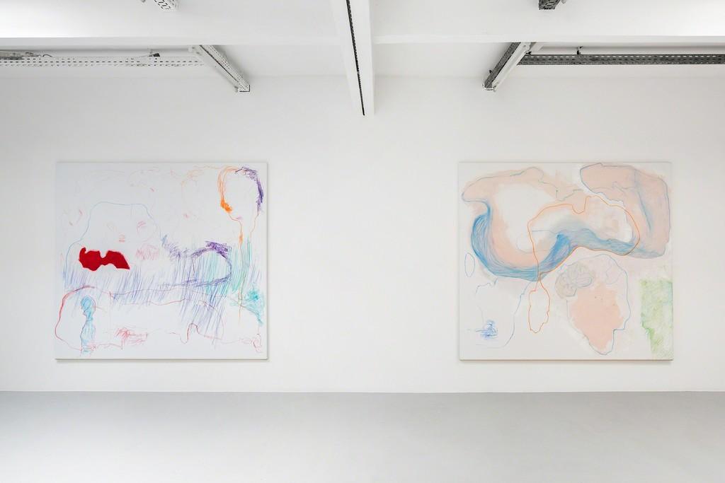 Gonn Mosny, Ausstellungsansicht, Kunstraum Innsbruck, 2017. v.l.n.r.: Gonn Mosny, LW 236, 200 cm x 215 cm, 2017 LW 235, 200 cm x 215 cm, 2017, courtesy by the artist and Volker Diehl Gallery. Foto: Verena Nagl