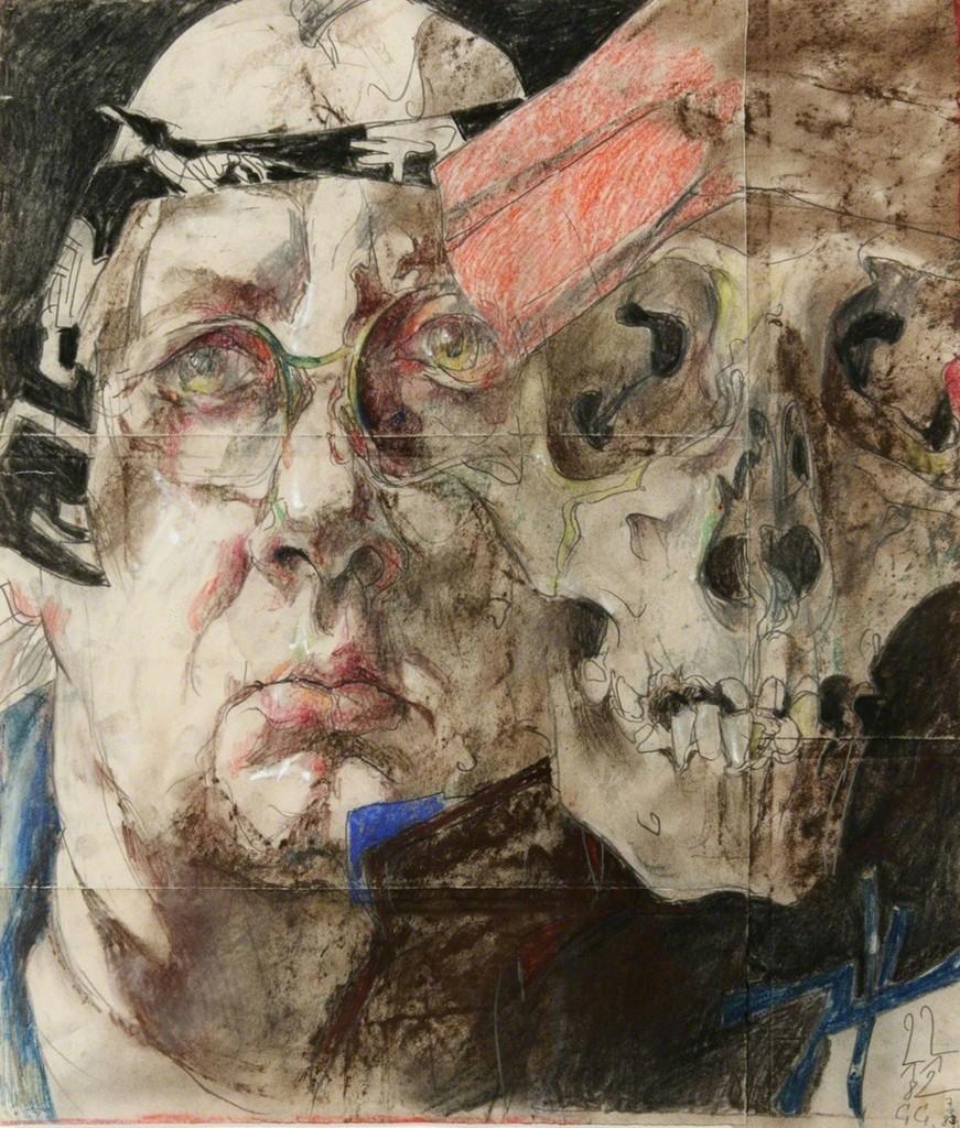 Horst Janssen, Selbst mit Totenkopf, 1982 ©VG BILD-Kunst, Bonn & JASPAR, Tokyo 2015 C0731