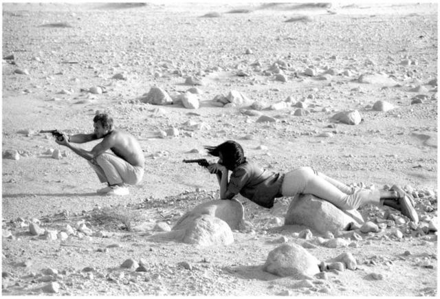 John Dominis, 'Steve McQueen and his wife, Neile Adams, in target practice, California', 1963, Atlas Gallery