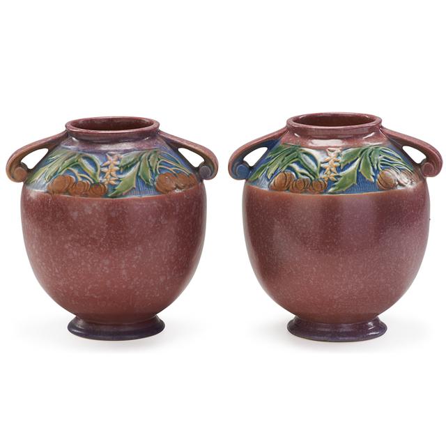 "Roseville Pottery, 'Two 8"" Pink Baneda Vases, Zanesville, OH', 1933, Rago/Wright"