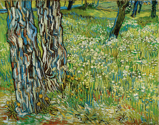 Vincent van Gogh, 'Tree trunks in the grass', late April 1890, Painting, Oil on canvas, Kröller-Müller Museum