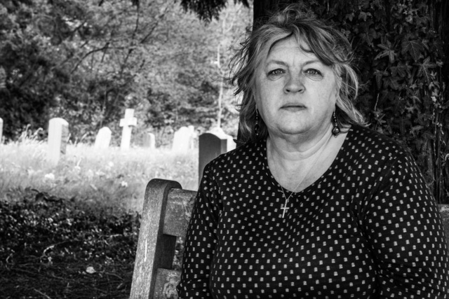 , 'Lucy Charman at the village cemetery where her grandparents, father and uncle are buried. Haslemere, Surrey,' 9 May 2015, Pace/MacGill Gallery