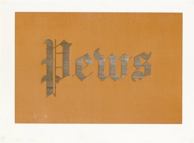Ed Ruscha, 'Pews, from News, Mews, Pews, Brews, Stews, & Dues', 1970, Print, Organic screenprint in colors (Hershey's chocolate syrup, Camp coffee and squid ink), Joanna Bryant & Julian Page