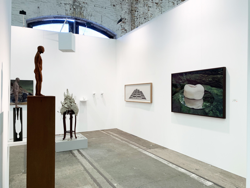 MAY SPACE at Booth G09, Installation 2 - 12th September, 2019 featuring: Peter Tilley, 'Materialised Shadow', 2019, cast iron, Corten steel. Peter Tilley, 'The Other Selves,' 2019, painted resin, painted steel, edition 4/5. James Guppy, 'Monuments', 2019, acrylic on polycotton. Ruth Ju-Shih Li, ephemeral, time-based installation, 2019. Catherine O'Donnell, 'Sirius', 2018, charcoal on paper. Nicole Welch, 'W I L D #1 - prelude', 2019, giclée print on archival fine art paper, 1/6 +2AP.