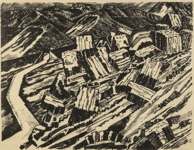 Edward Wadsworth, 'Ladle Slag, Old Hill, I (Colnaghi 146; Greenwood W/C 5)', 1919-1920, Print, Lithograph printed in black, on tissue-thin Japan paper, Forum Auctions