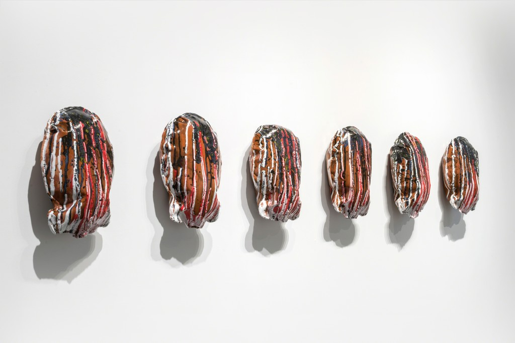 Single-action 1-6, glazed slip-cast ceramic sculptures by Ayakamay at PROTO Gallery.