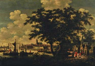 Coastline View with Town Skyline and Figures