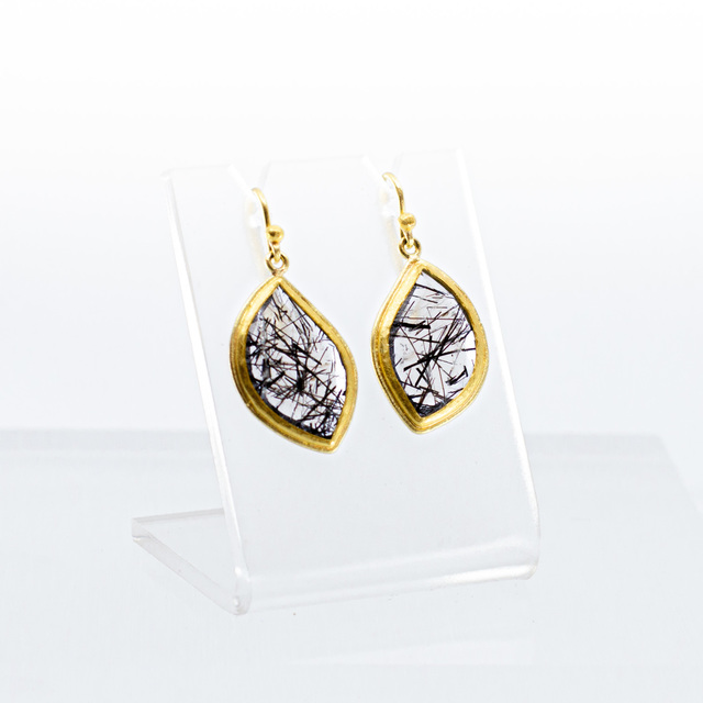 Petra Class, 'Faceted Tourmlinated Quartz Slice in curved marquis shape on french wire', 2020, Jewelry, Tourmlinated Quartz, 18/22k Gold, Telluride Gallery of Fine Art