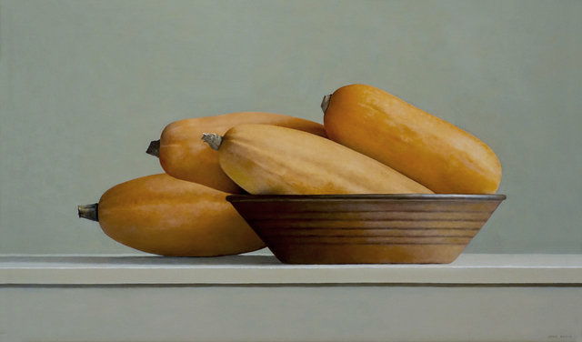 Janet Rickus, 'Banana Squash and Brown Bowl', 2015, Painting, Oil on Canvas, Gallery Henoch