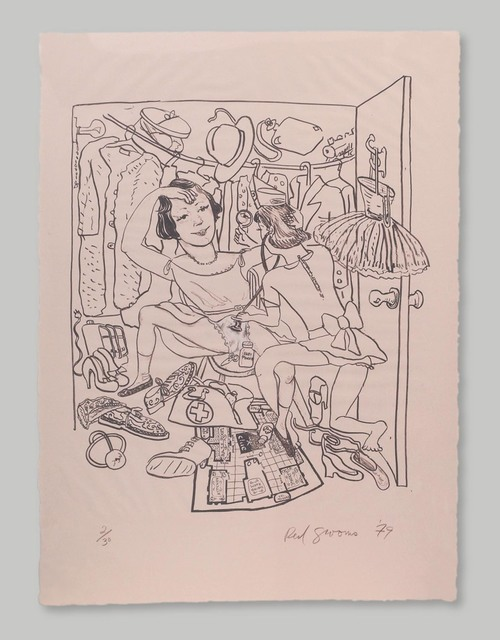 Red Grooms, 'Rosie's Closet', 1979, Print, Lithograph, Approximately Blue