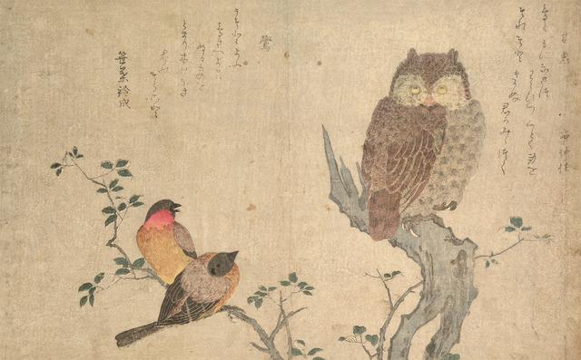 , 'Bullfinch and Scops Owl,' ca. 1790, Ronin Gallery