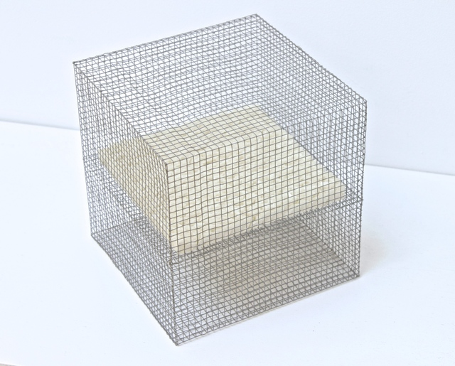 , 'RNcube13-99 Wire Mesh with Paper Cube,' 1999, Tayloe Piggott Gallery