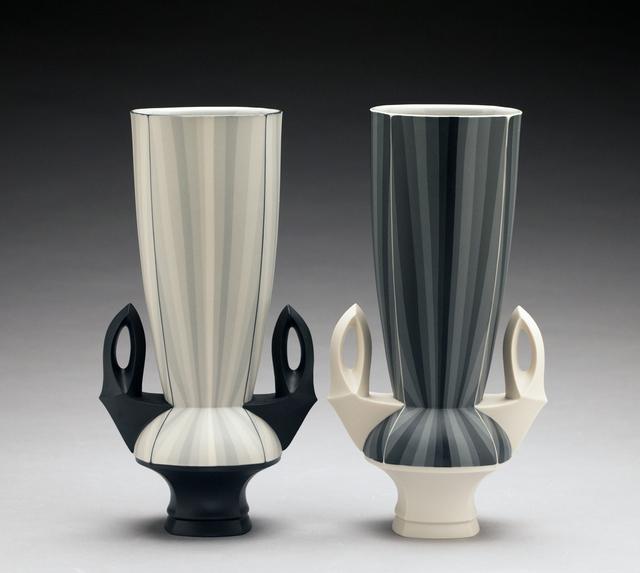 Peter Pincus, 'Contrasting Gradient Vases (pair)', 2018, Sculpture, Porcelain, Ferrin Contemporary