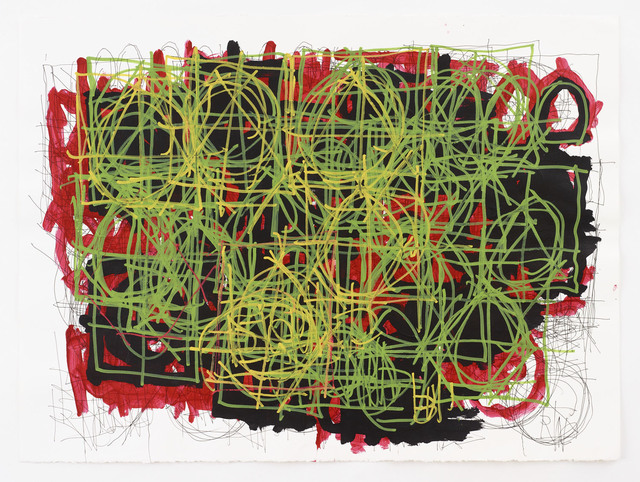 Dan Miller, 'Untitled (Thin green lines over black and red)', 2014, Diane Rosenstein