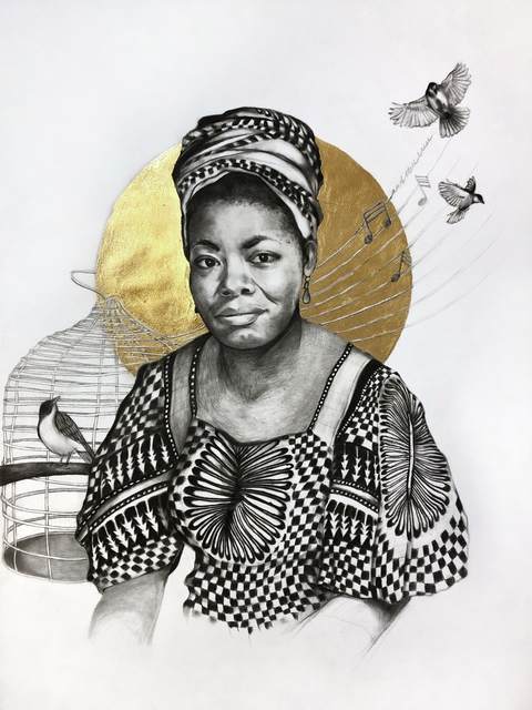 Lauren Clayton, 'Ms. Angelou', 2019, Drawing, Collage or other Work on Paper, Graphite, charcoal, and gold leaf on paper, SHIM Art Network