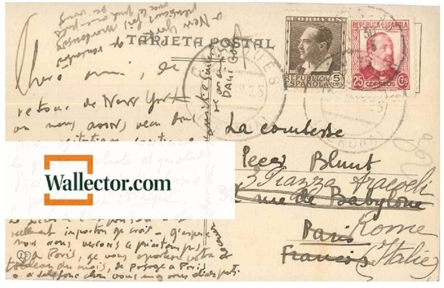 , 'Nostalgic Postcard by Dalì to Countess Pecci-Blunt,' 1935, Wallector