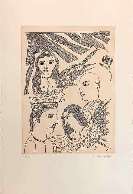 ", 'Untitled, Etching on Paper by Padmashree Artist ""In Stock"",' ca. Circa, Gallery Kolkata"