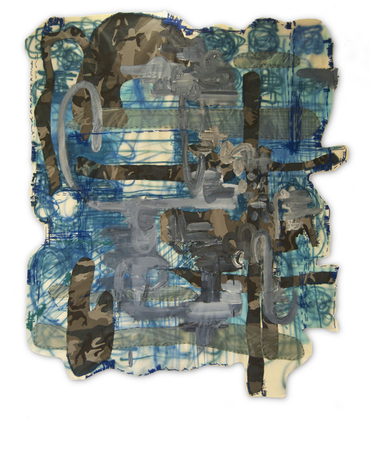 Alfredo Martinez, 'Blue Camouflage ', 2014, Mixed Media, Yarn, fabric, paper, acrylic paint, wax crayon, oil pastel., ARTSPACE 8