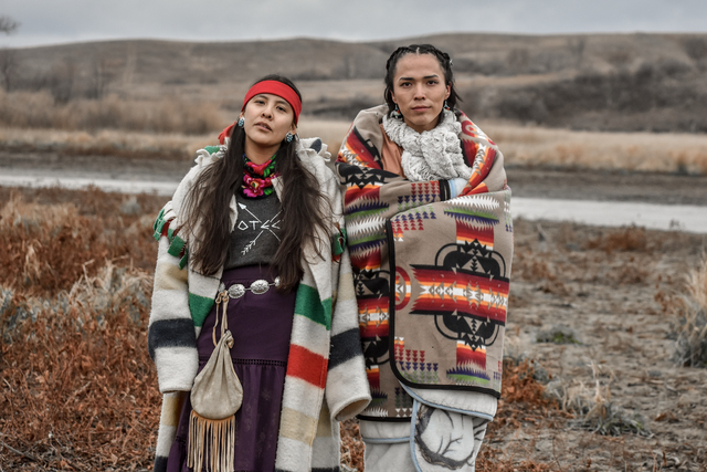 , 'Two Dine women hold strong in sovereignty, only speaking their ancestral language at Turtle Island, Thanksgiving, 2016,' , Monroe Gallery of Photography