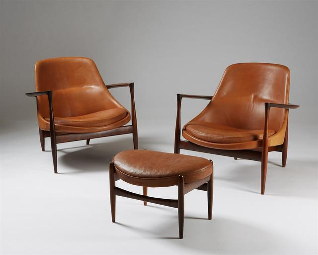 ", 'Pair of armchairs and foot stool ""Elizabeth"". ,' 1956, Modernity"