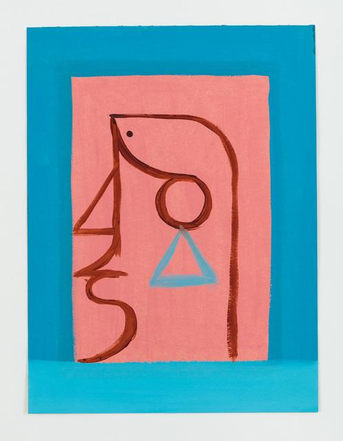 , 'Untitled (Brauner Linienkopf auf rosa Feid),' 2014, Rachel Uffner Gallery