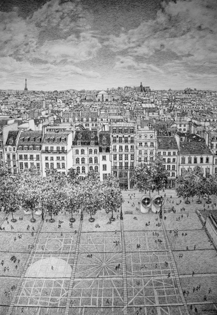 , 'Paris Looking over the Rooftops from the Pompidou Centre,' 2018, Rebecca Hossack Art Gallery