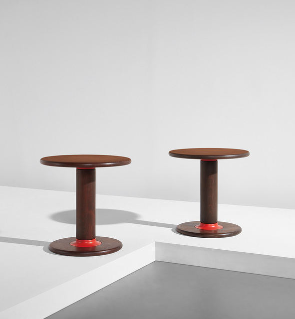 """Ettore Sottsass, 'Pair of """"Rocchettone"""" side tables, model no. T. 44', circa 1965, Phillips"""