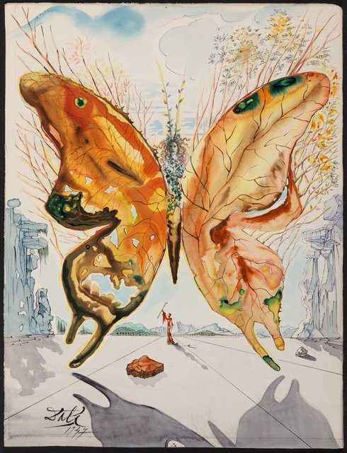 Salvador Dalí, 'Venus Butterfly', 1947, Drawing, Collage or other Work on Paper, Gouache, watercolor, India ink, pencil and collage on card, Heritage Auctions