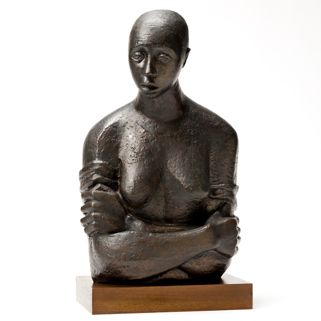 Elizabeth Catlett, 'Pensive', 1946, Sculpture, Cast bronze, with a dark brown patina, mounted on a wooden base, Swann Auction Galleries
