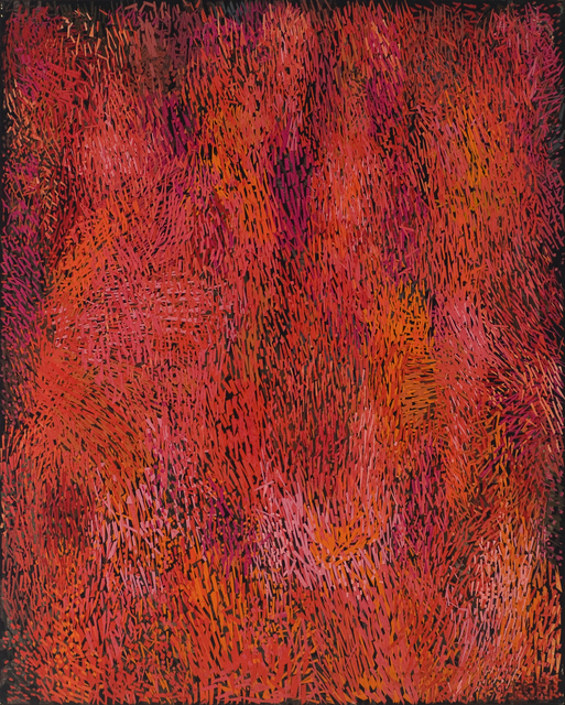 Margo Hoff, 'October Hill / Red', ca. 1978, Painting, Oil and canvas collage on canvas, Peyton Wright Gallery